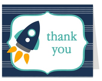 Rocket, Spaceship, Thank You Cards, Baby Shower, Boys, Outer, Space, Ship, Blue, Alien, Astronaut, 24 Folding Notes, FREE Shipping, Printed