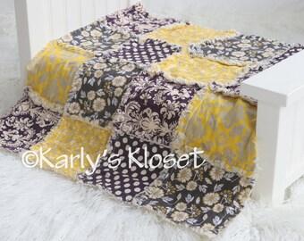 Baby Quilt, Newborn Prop, Yellow & Purple Quilt, Newborn Rag Quilt, Baby Girl Props, Newborn Photography Props, Layering Blanket Prop
