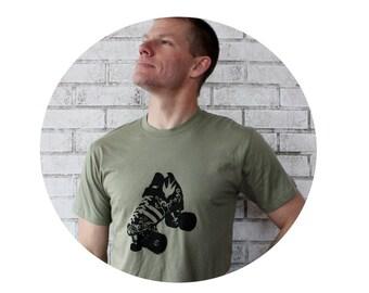 Roller Skate Tshirt, Men's Cotton Crewneck Graphic Tee Shirt, Roller Derby, Hand Screenprinted, Light Olive Drab, Quad Speed Skate Shirt
