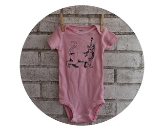 Cat With Horn Baby Bodysuit, Caticorn, Unicorn, Cotton Infant Creeper, One Piece Snapsuit, Light Pink, Baby Girl, Shower Gift, Screenprint