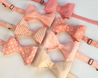Mens Neckwear - Coral Bow Tie - Coral Bowtie - Mix and Match Bow Ties - Wedding Bow Ties - Mens Bow Ties - Mens Necktie - Groomsmen Bow Tie