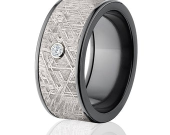 Meteorite Rings, Diamond Meteorite Wedding Rings Mens Wedding Ring Meteorite Bands - Sku: BZ-Impg-10F-Meteorite-Dia