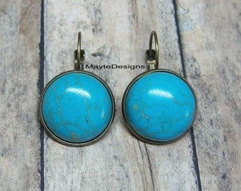 BEAUTIFUL/Turquoise Earrings/Turquoise and Antique Brass Earrings/Antique Brass Earrings