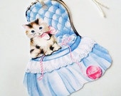 Cat On Blue Chair - Gift Tags - Set of 3 - Retro Cat Tags - Cat With yarn - Playful Cat Tags - Vintage Cat Tags - Animal Tags - Pet Tags