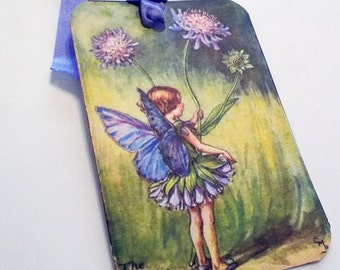 Periwinkle Fairy Tag - Set of 3 - Vintage Fairy - Gift Tags - Purple Blue Fairy - Spring Flower - Thank Yous - Fantasy Tags - Garden Tag