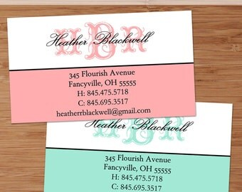 Fancy Monogram - 50 Custom Business or Calling Cards