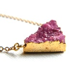Pink Druzy Necklace, Pink Triangle Necklace, Asymmetric Necklace, Triangle Necklace, Pink Necklace, Gemstone Pendant Necklace