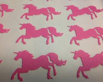 15 Pc large Pink Glitter Galloping Unicorn Stickers