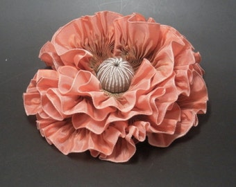 Large Peach and Bronze Ribbon Flower Millinery Applique