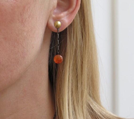 Tangerine Carnelian 22k Gold  Paperchain Swing Earrings