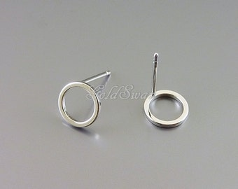 4 simple shiny silver 8mm open circle stud earrings, geometric circle earrings 1071-BR-8