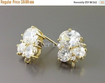 15% OFF 2 sparkling CZ cubic zirconia cluster crystal earrings, wedding / bridal earrings jewelry supplies findings 1452-BG (gold, 2 pcs)