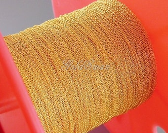 1 meter of 1mm x 0.9mm very tiny link cable chain in shiny gold, gold plated brass jewelry chain B132-BG