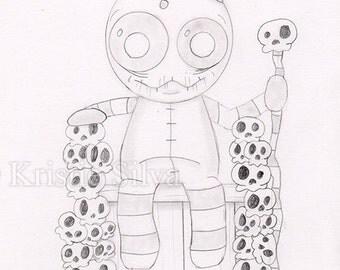 King of Skellies 5x7 Original Drawing by Kristie Silva big eyed monster creature