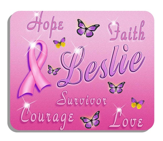 """Breast Cancer Butterflies Mouse Pad Personalized Office Gifts Ladies Computer Accessories Pink Purple 1/4"""" Thick Mousepad"""
