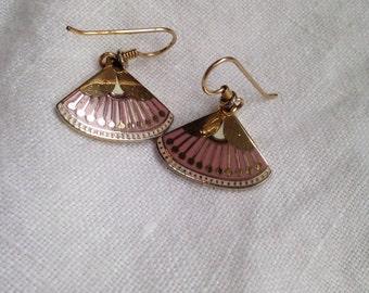 Laurel Burch Catherine Pink Fan Earrings
