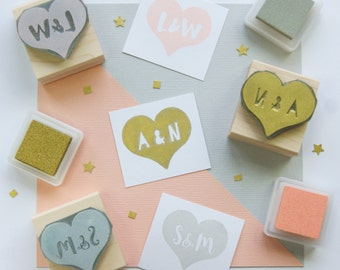 Personalised Heart Rubber Stamp Personalized Custom Wedding Stamp Valentines Stamp Customised Stamp Customized Stamp