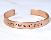 Latitude longitude bracelet handmade in gorgeous thick copper and personalized with your custom coordinates - BR046