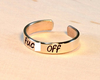 F'ck Off Toe Ring in Bronze or 14k Gold - TR604