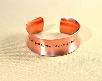 Anticlastic massive copper cuff bracelet I love you to the moon and back - BR561