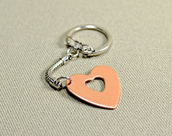 Copper heart keychain for custom and personalized handstamping requests - KC926