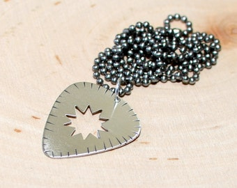 Sterling silver guitar pick necklace - solid 925 NL838