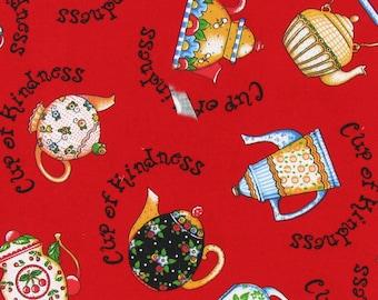 ME Teapot fabric --Mary Engelbreit Fabrics-- HARD Find--Low Price--Last Piece