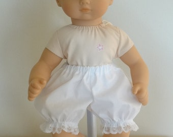 Short White Bloomers Panties for 15 inch Bitty Baby Doll
