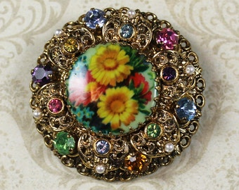 Vintage Round Golden Filigree Brightly Colored Floral, Pearl and Rhinestone Round Brooch