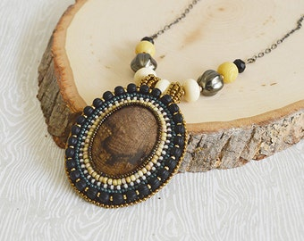 Natural Stone Bead Embroidery Necklace. Matte Black. Handcrafted. Artisan Jewelry. OOAK. Memento Mori. Natural Stone. Beadwork. Pendant.