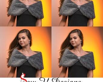 "Faux fur Bridal Party set of FOUR Custom woman's 10"" wide charcoal grey plush faux fur wraps Winter wedding shawls"