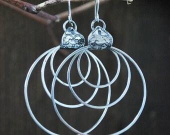 Boucles d'oreilles trois anneaux argent massif