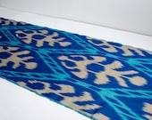 Blue cream ikat fabric by the yard, ikat table runner, blue, cream, ikat fabric, blue cream ikat, blue, cream, ikat, fabrics, ikats, uzbek
