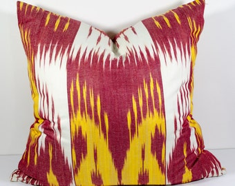 20x20, red yellow ikat pillow covers, ikat pillow, red yellow, cushion, case, cotton pillow cover, decorative pillow, throw pillow, design