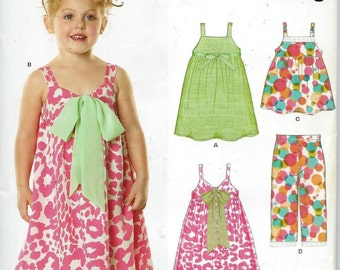 GIRLS Dress and Pants Pattern by New Look Patterns, Sizes 3-8 Uncut