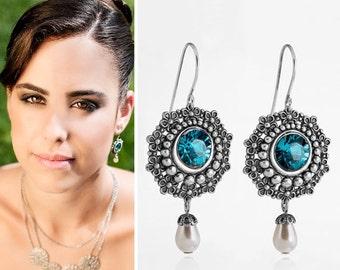 30% SALE Blue wedding jewelry, Blue wedding earrings, Blue wedding, Something Blue Jewelry, Something blue, Blue bridal earrings, Blue br...