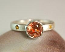 Faceted Sunstone Ring, Gemstone Ring, Natural Oregon Sunstone, Unique Artisan Jewelry
