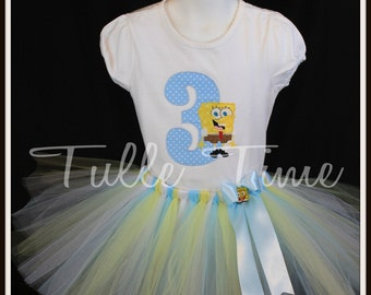 Blue Spongebob number shirt  tutu dress combo bow headband size 12 m 18 m 24m 3t 4t 5 6 7 8