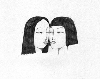PRINT girls sharing spit