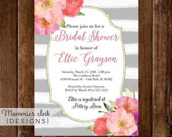 Watercolor Flowers Bridal Shower Invitation, Gray Watercolor Stripes Bridal Shower Invitation, Watercolor Floral, Pink and Coral Flowers