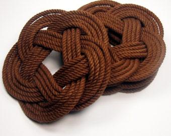 Brown Nautical Coasters  Woven Turk's Head Coasters Set of 4 knot coasters 100% cotton