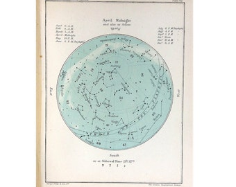 from 1910 APRIL STAR CHART lithograph - original antique print - celestial calendar month constellation astronomy map - aries taurus