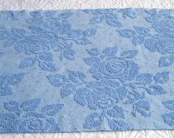Fieldcrest  Cornflower Blue  Cabbage Roses & Pearls Hobnail Vintage Chenille Bedspread Fabric