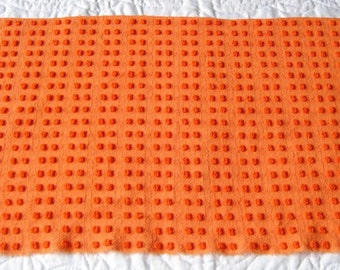 "Bright Orange Morgan Jones Pops w Lurex Vintage Chenille Bedspread Fabric 20"" x 11"""