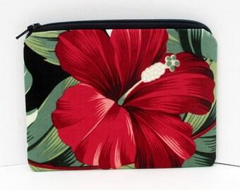 Small Zipper Pouch, Red Hawaiian Hibiscus, Tropical Black Coin Purse
