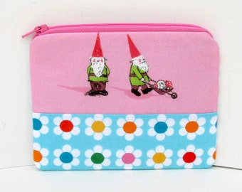 Gnome Duo, Small Zipper Pouch, Heather Ross Fabric