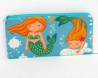 Pencil Pouch, Long Zippered Bag, Mermaid Fun, Under the Sea
