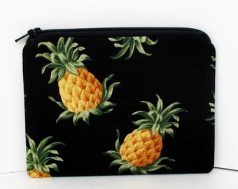 Small Zippered Pouch Bag, Golden Pineapples,Tropical Change Purse
