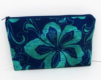 Make-up Bag, Cosmetic Zipper Pouch, Navy Blue and Green Hawaiian Hibiscus