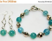 SALE Ocean Blue Silver Bracelet and Earring Set - Blue Green Bracelet and Earrings - Jewelry Set - Summer Jewelry - Casual Bracelet - Gift I
